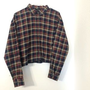 Forever 21 crop top oversize plaid shirt size s
